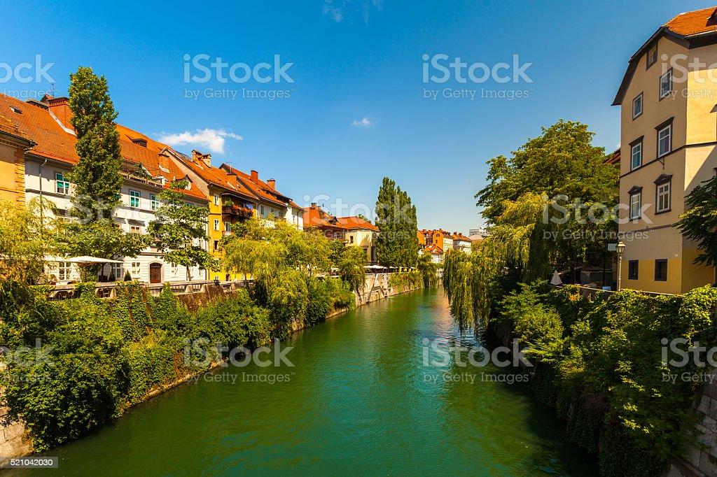 Canal in Ljubljana, Slovenia stock photo
