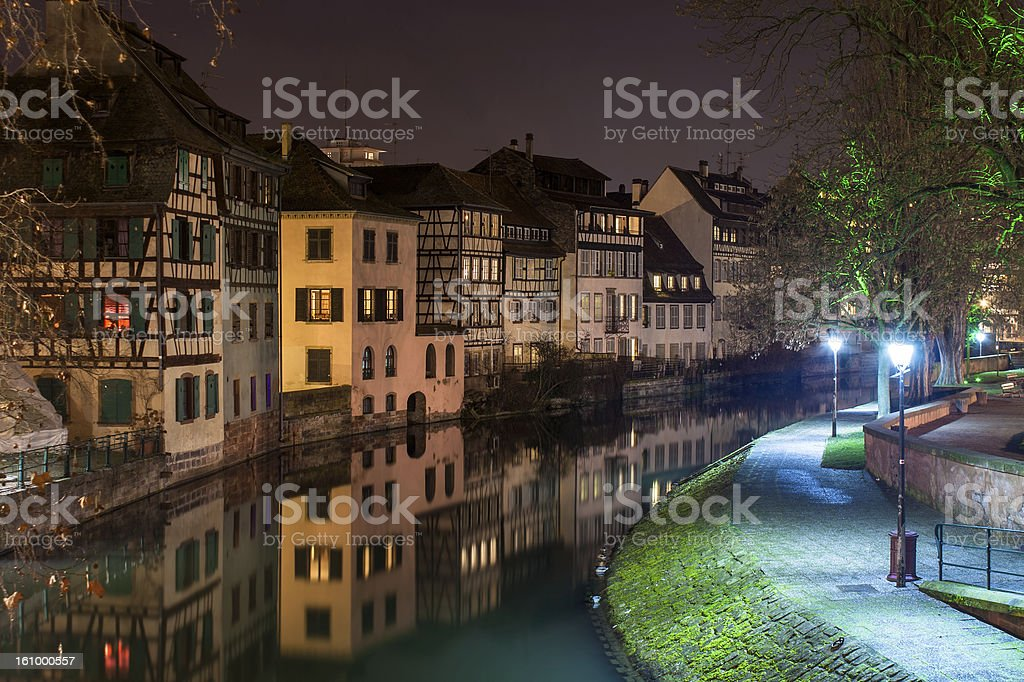 Canal in Petite France area, Strasbourg, Alsace royalty-free stock photo