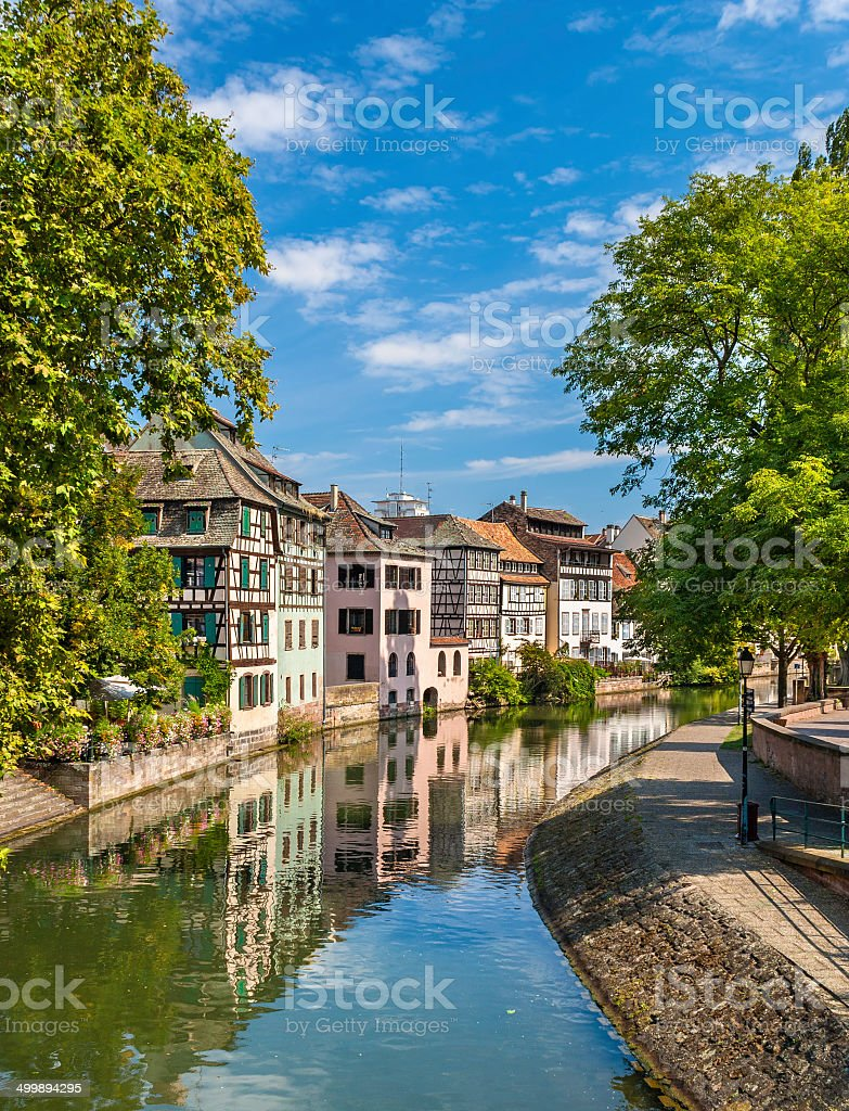 Canal in Petite France area, Strasbourg, France stock photo