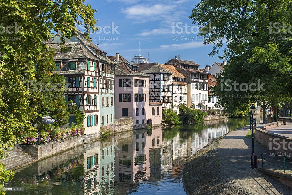 Canal in Petite France area - Strasbourg stock photo