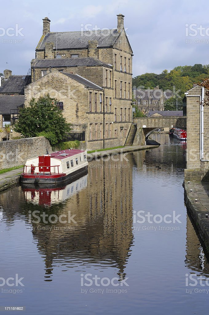 Canal in Skipton, England stock photo
