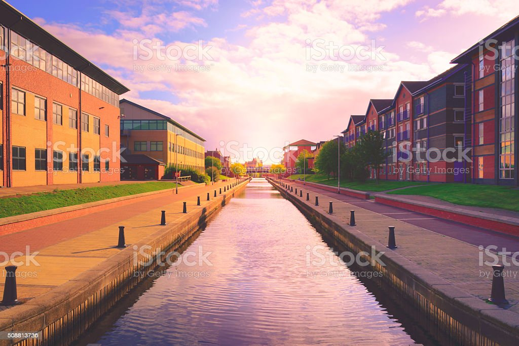 Canal in Stockton on tees, North Yorkshire, UK stock photo
