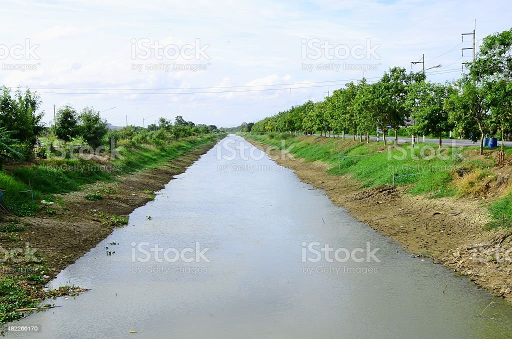 Canal in the rural of Thailand. stock photo