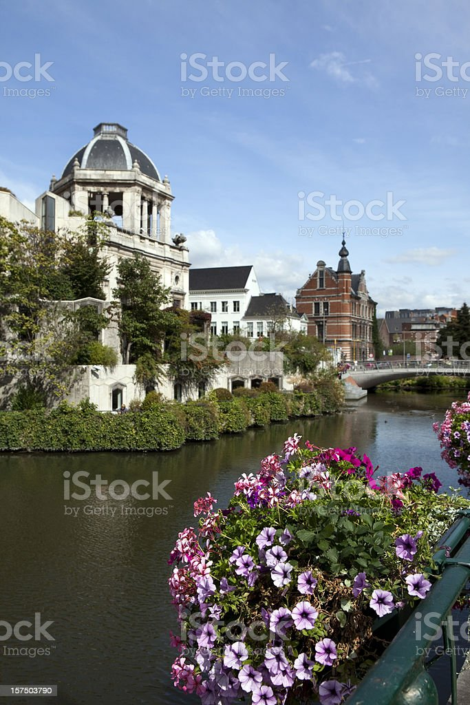 Canal in Town of Ghent Belgium stock photo