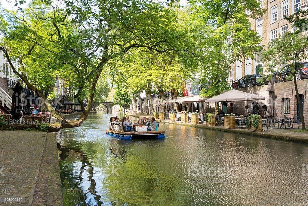 Canal in Utrecht, Netherlands stock photo