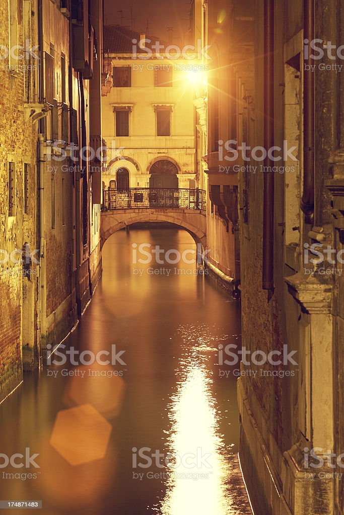 Canal in Venice at night royalty-free stock photo