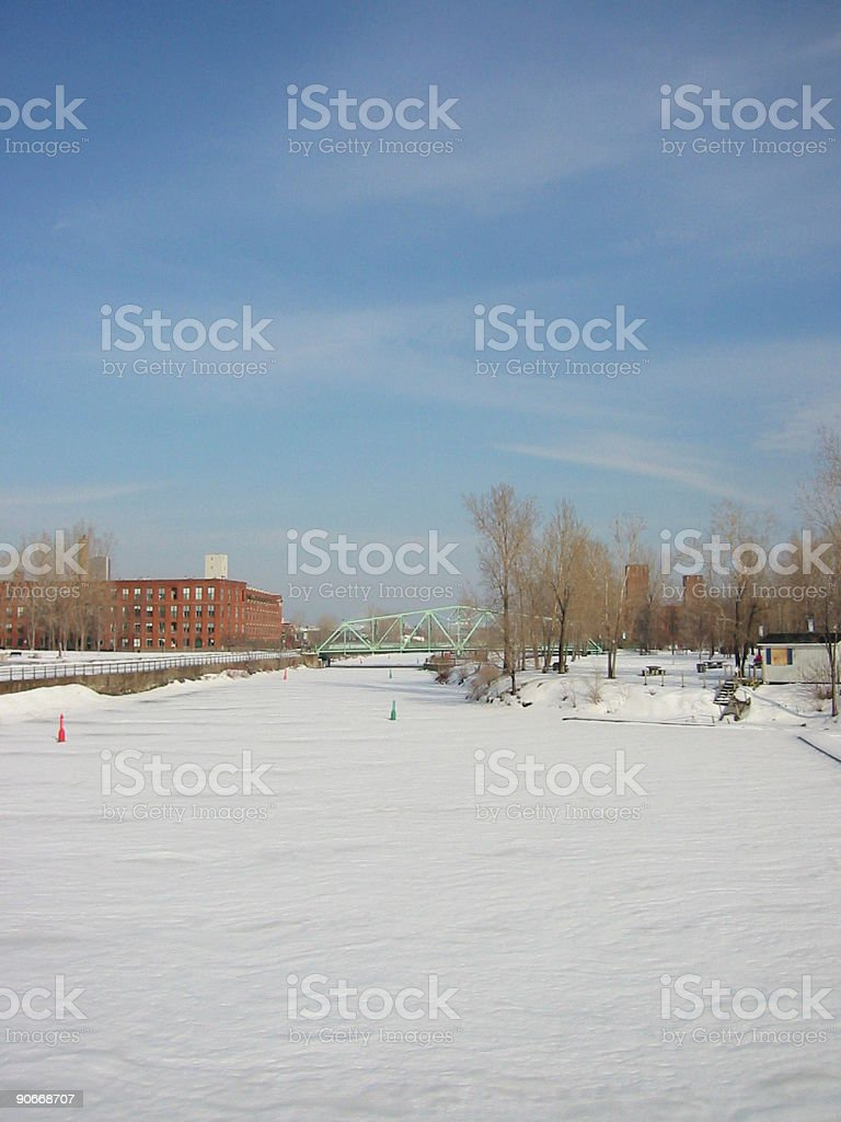 Canal in Winter Months stock photo
