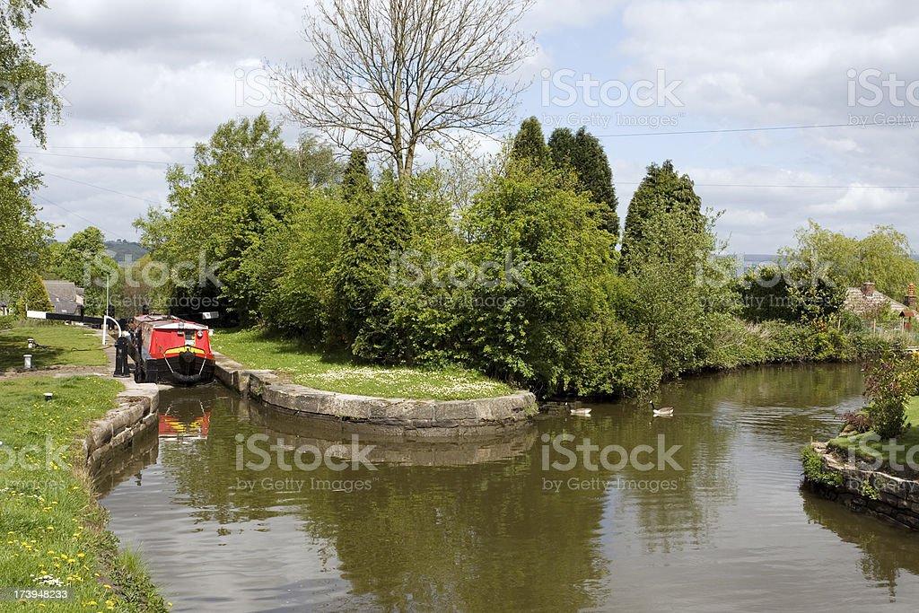 Canal, lock and narrow boat royalty-free stock photo
