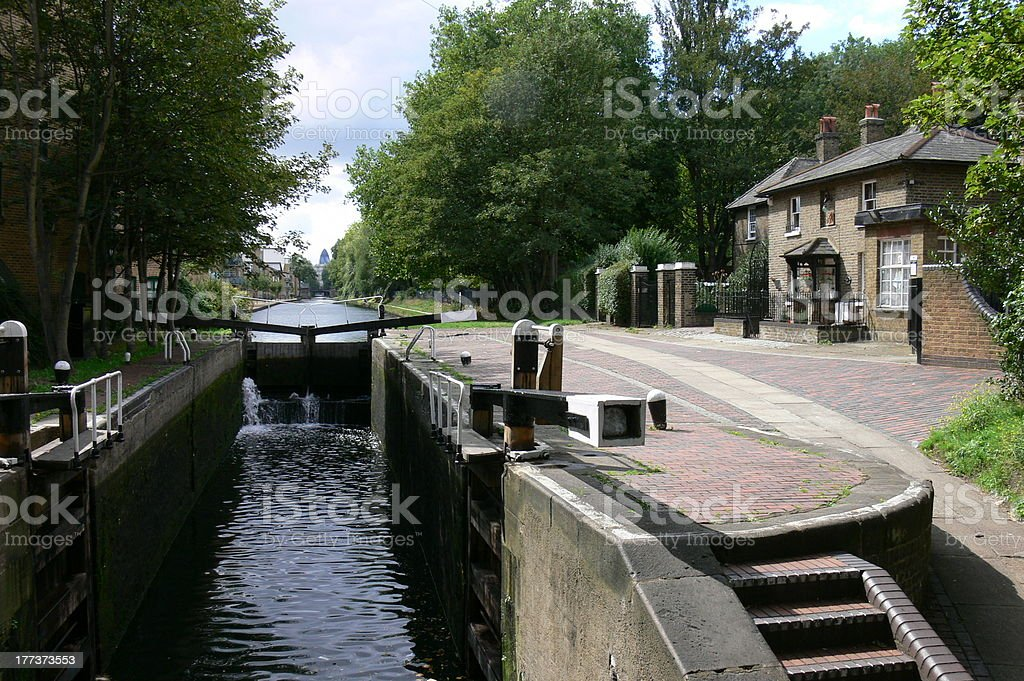 canal lock in Victoria Park London stock photo