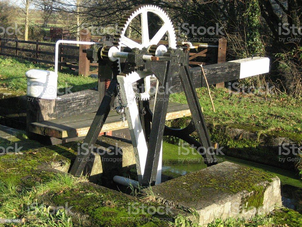 Canal lock winding gear stock photo