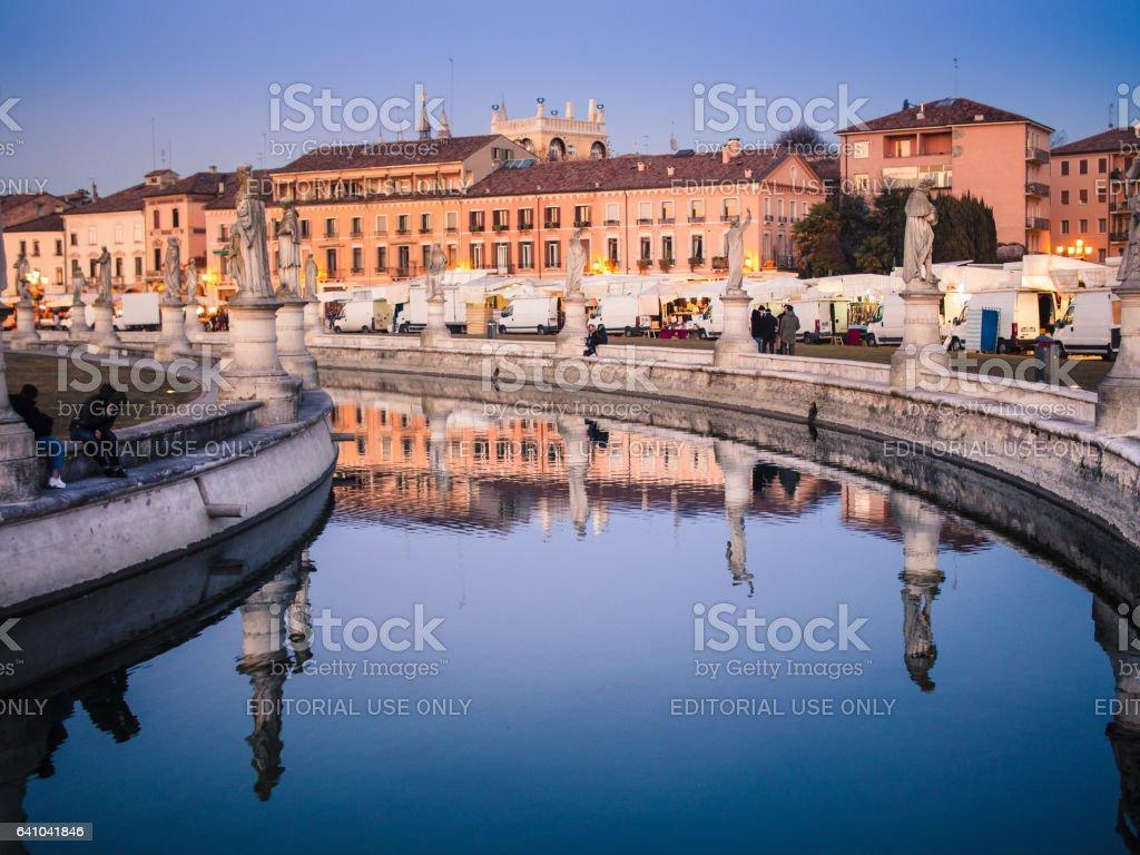 Canal on square Prato della Valle in Padova city. stock photo