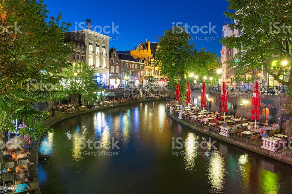 Canal Oudegracht at night, Utrecht, Netherlands stock photo