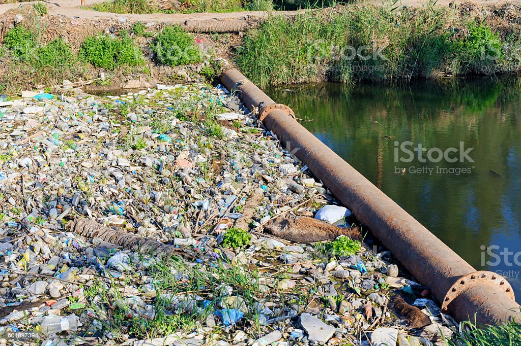 Canal polluted in small village,Egypt. stock photo