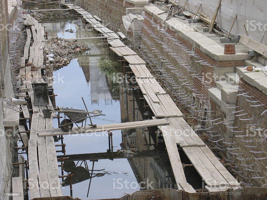 Canal Repair II -- Venice, Italy royalty-free stock photo