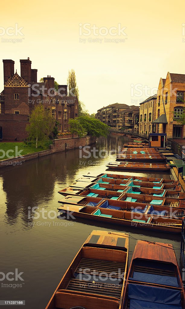 Canal river with boat in Cambridge stock photo