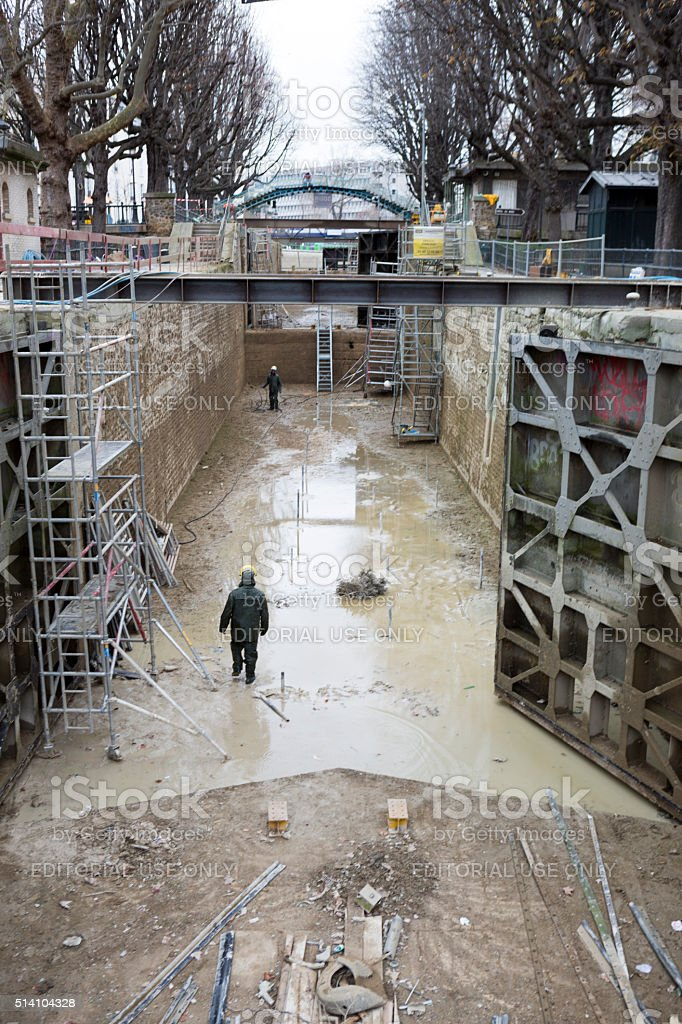 Canal Saint Martin in Paris France, Construction Repair and Maintenance stock photo