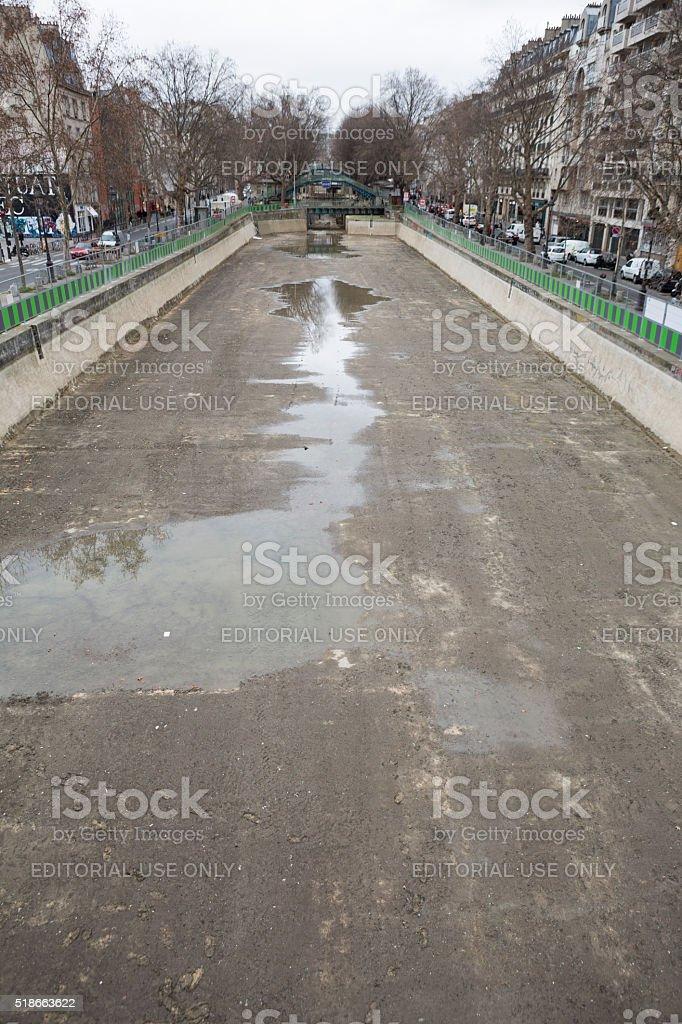 Canal Saint Martin in Paris France, Construction Repair and Maintenance stock photo