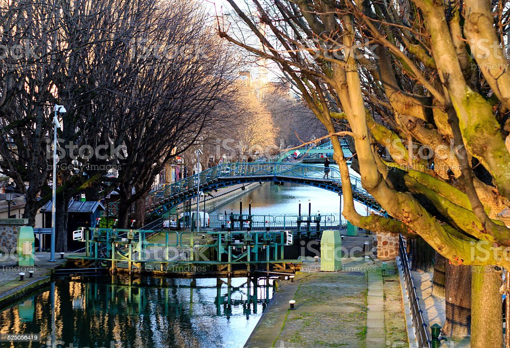 Canal Saint-Martin in Paris stock photo