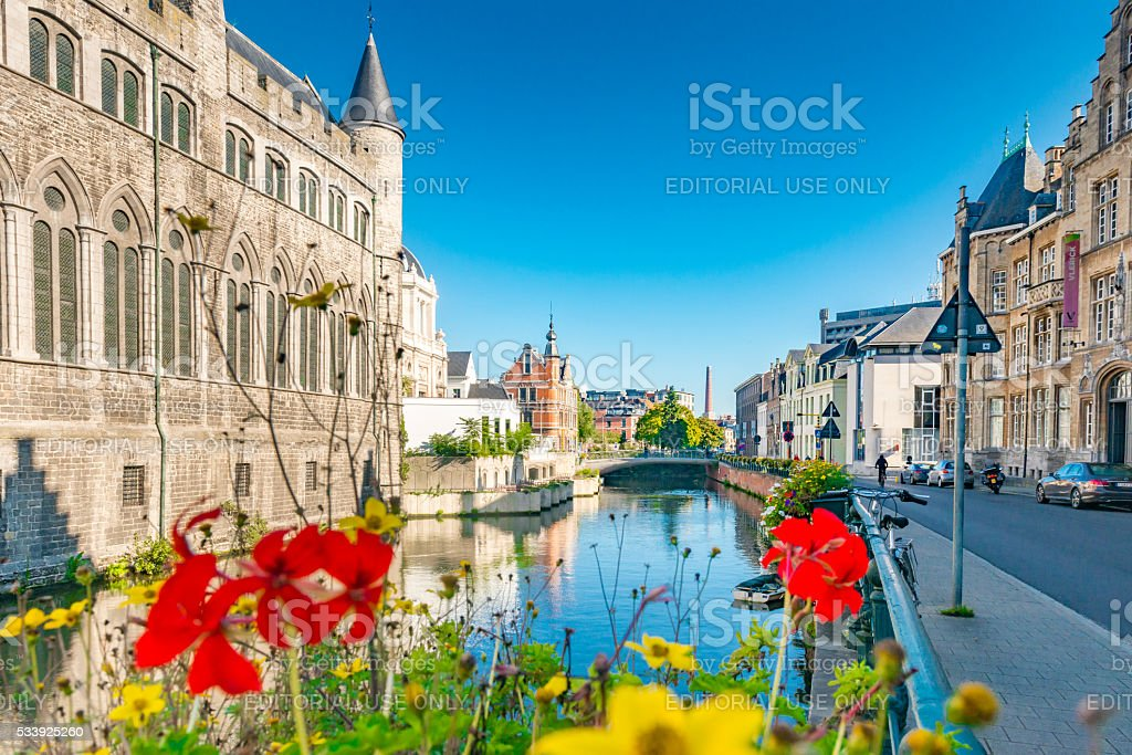 Canal scene in the Belgium city of Ghent stock photo