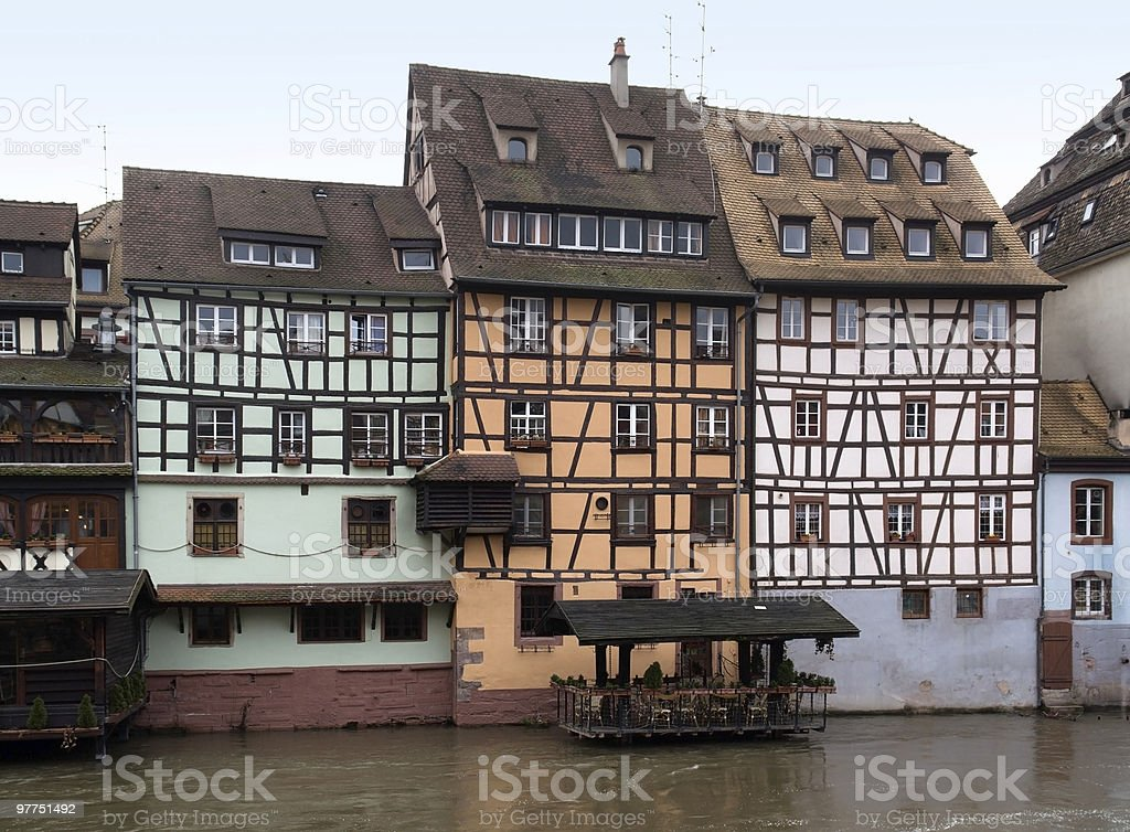 canal scenery in Strasbourg royalty-free stock photo