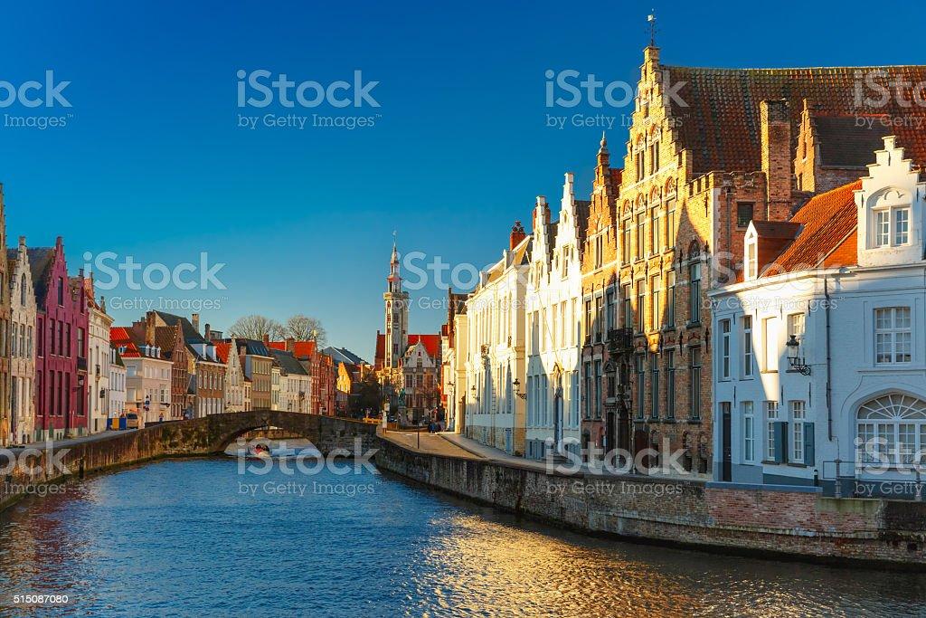 Canal Spiegelrei, Bruges, Belgium stock photo