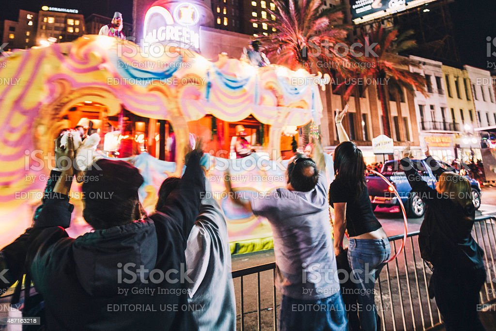 Canal Street Mardi Gras crowd, New Orleans. stock photo