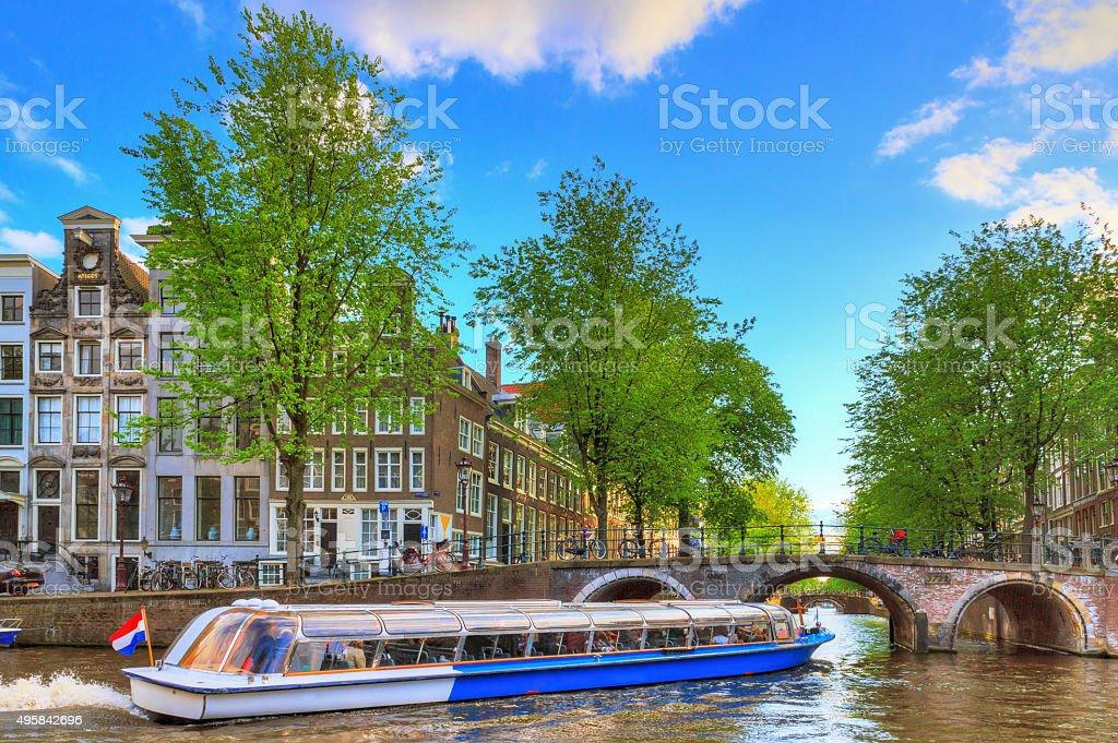 Canal tour bridge stock photo