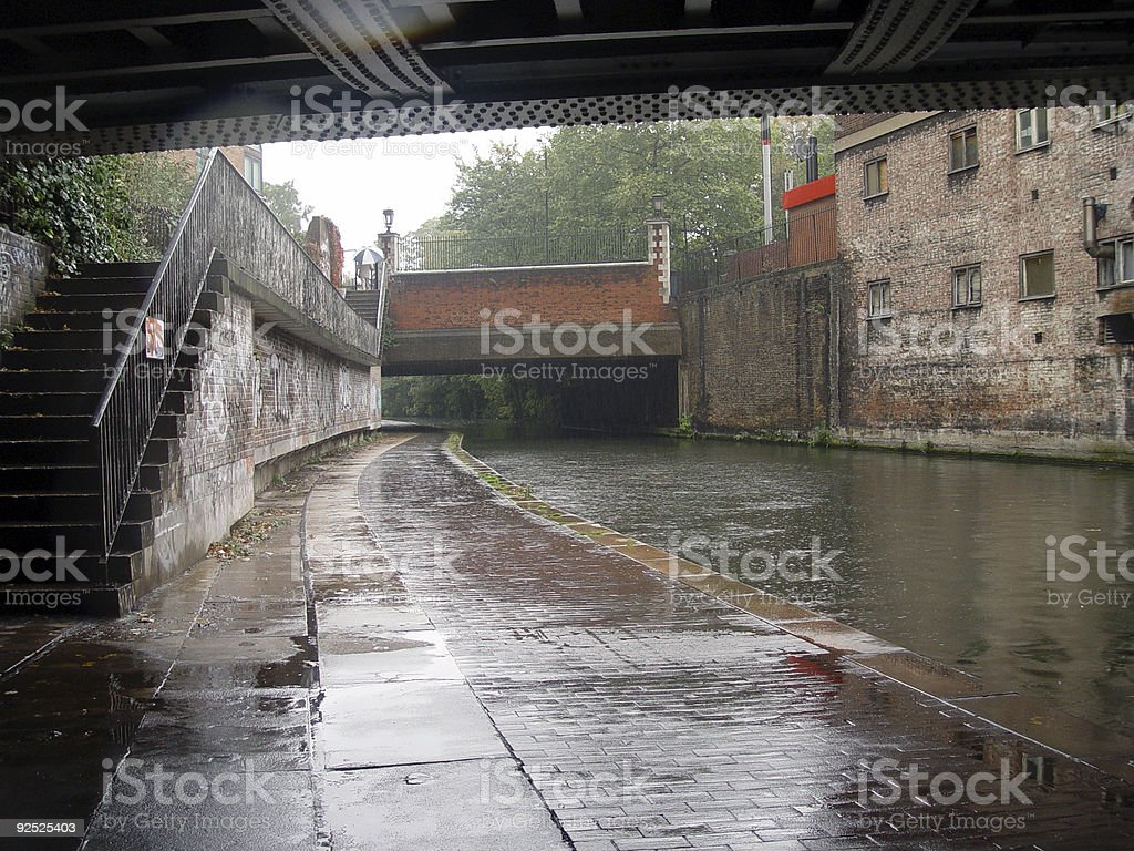 Canal Under a Bridge in London royalty-free stock photo