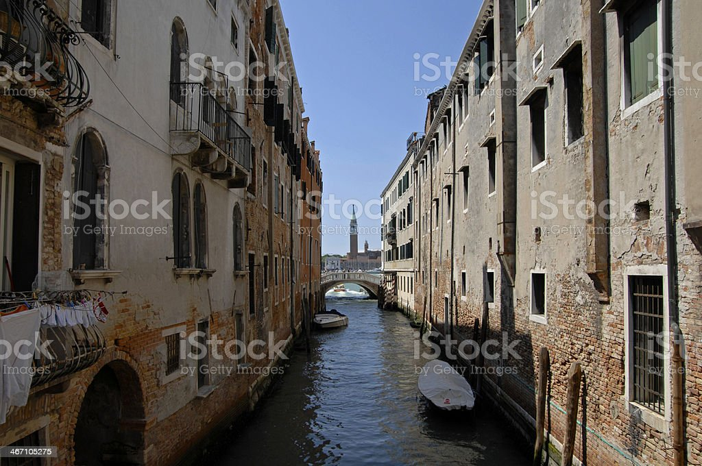 Canal view and San Giorgio Maggiore, Venice, Italy royalty-free stock photo