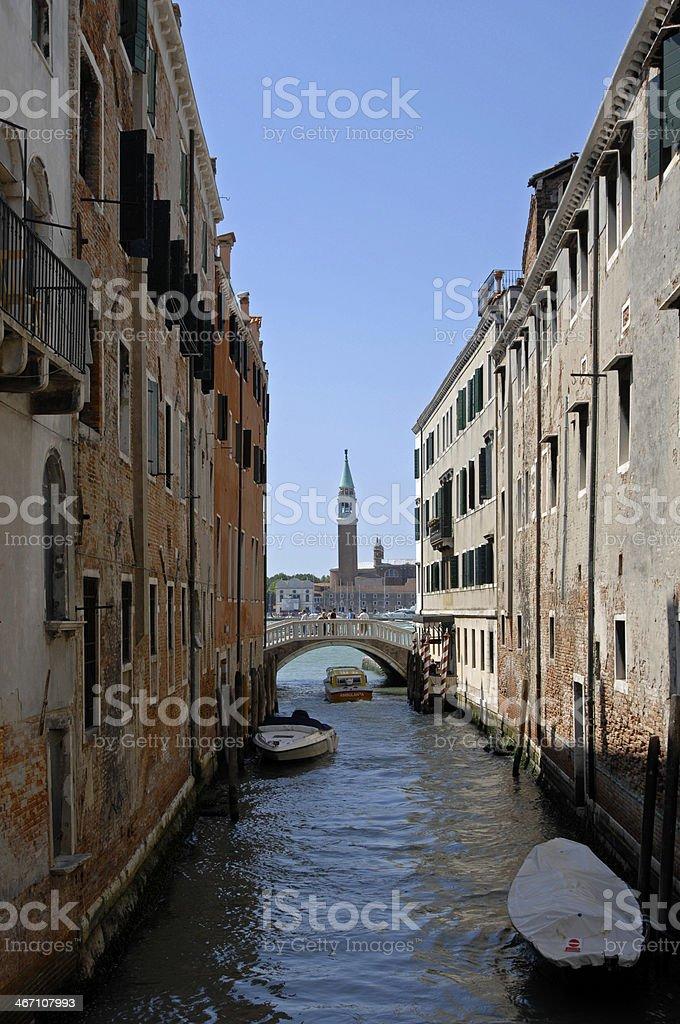 Canal view and San Giorgio Maggiore, Venice, Italy royalty-free stock photo