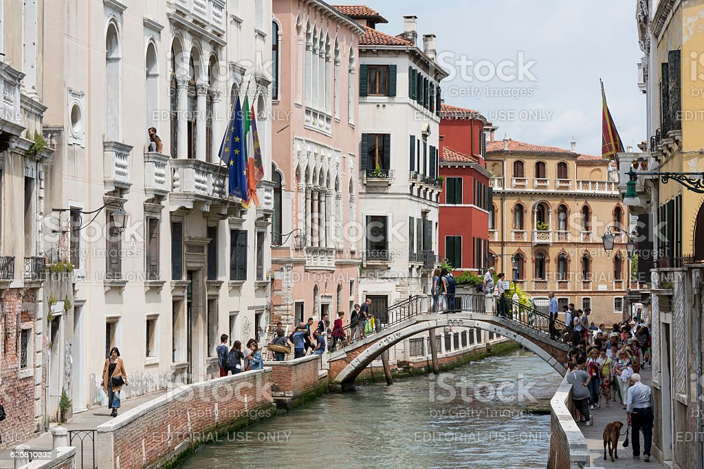 Canal view in Dorsoduro Venice at day stock photo
