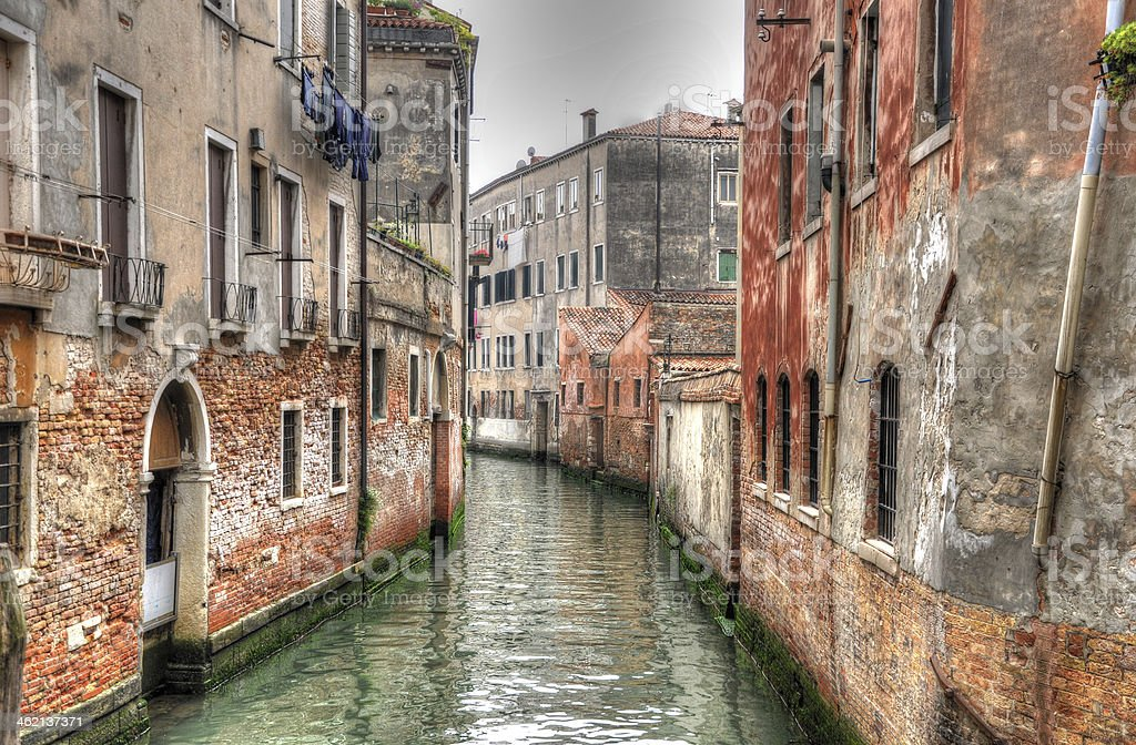 Canal with ancient hoses, Venice, Italy (HDR) royalty-free stock photo