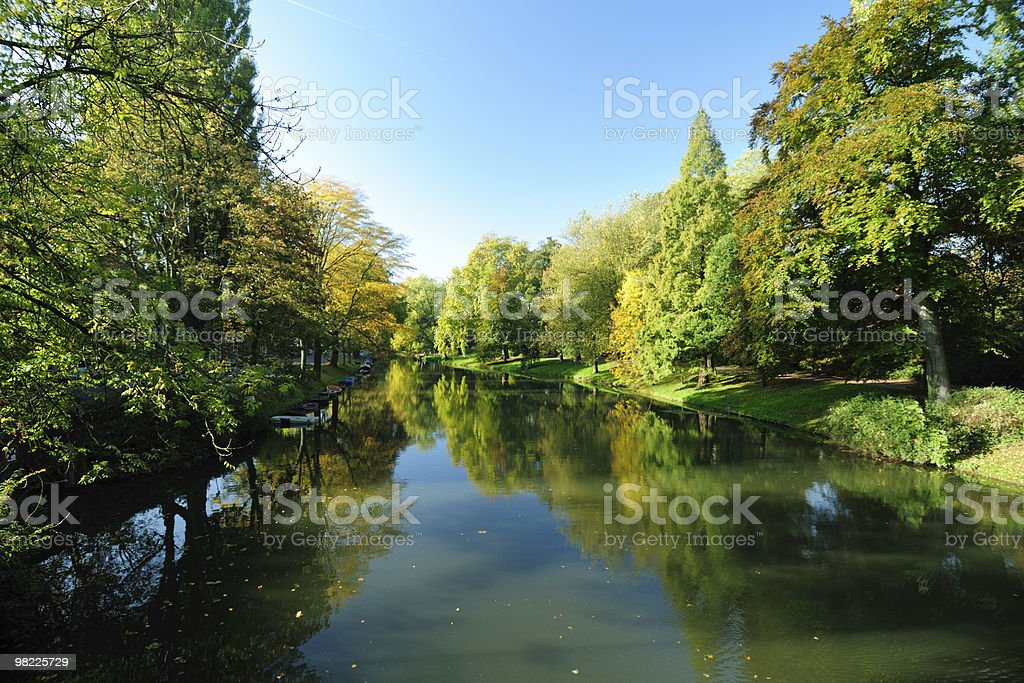 Canal with autumn trees royalty-free stock photo