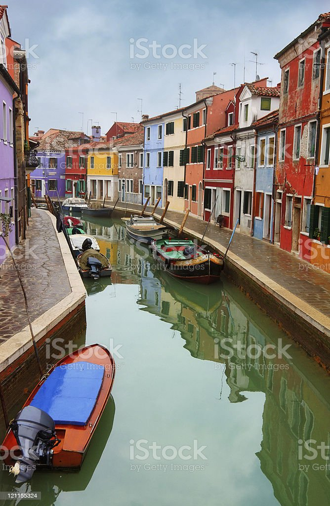 Canal with colorful houses - Burano royalty-free stock photo