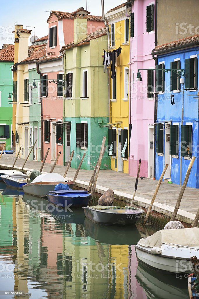 Canal with colorful houses- Burano, Veneto Italy royalty-free stock photo