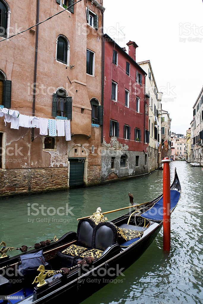 Canal with gondola in Venice, Italy royalty-free stock photo