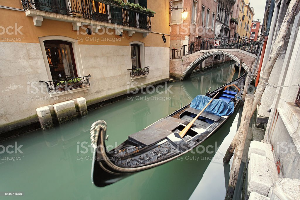 Canal with gondola royalty-free stock photo