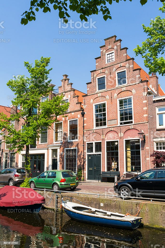 Canal with old houses, Haarlem, Netherlands stock photo