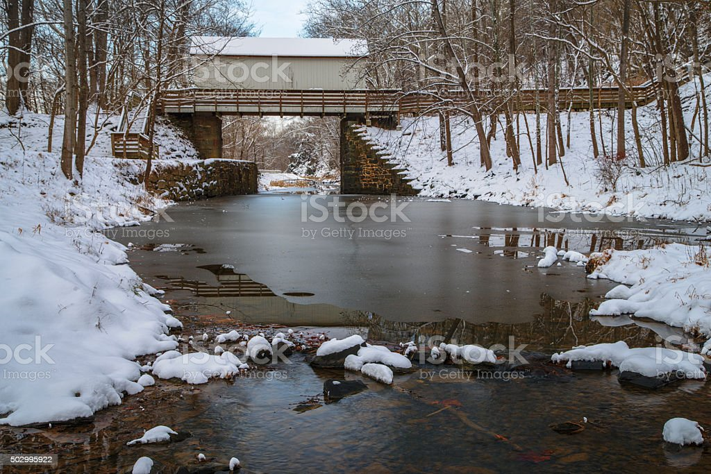 C&O Canal with Snow stock photo