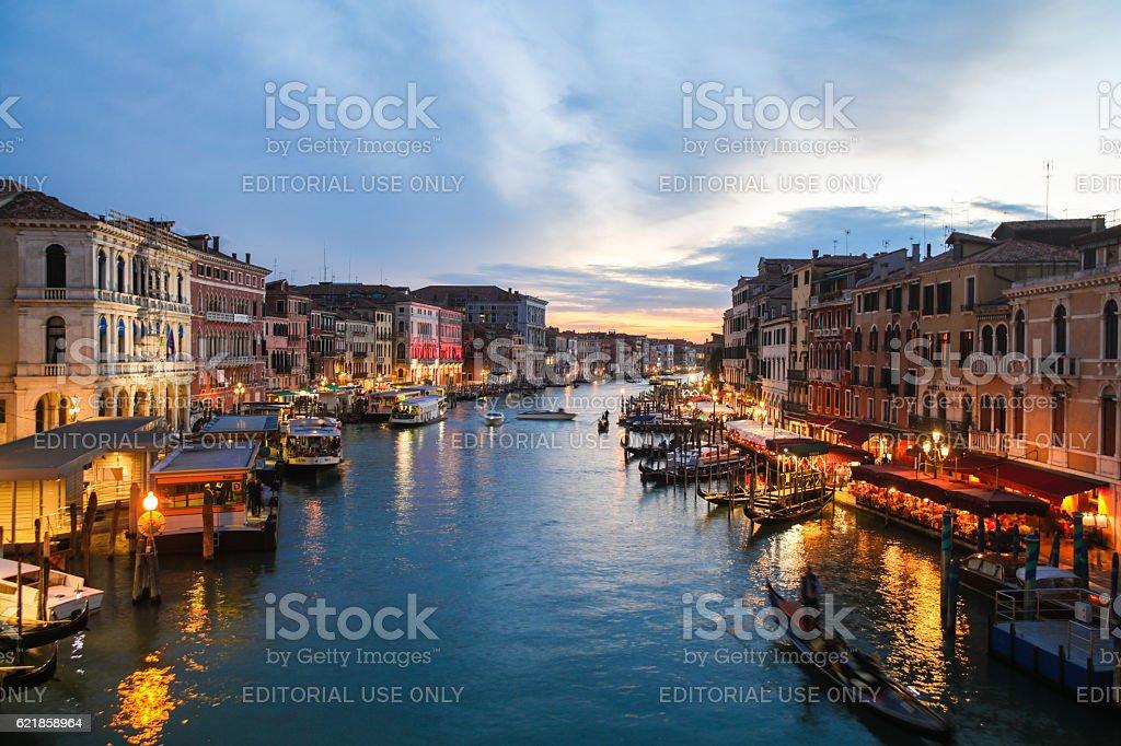 Canale Grande seen from Rialto Bridge in Venice, Italy stock photo