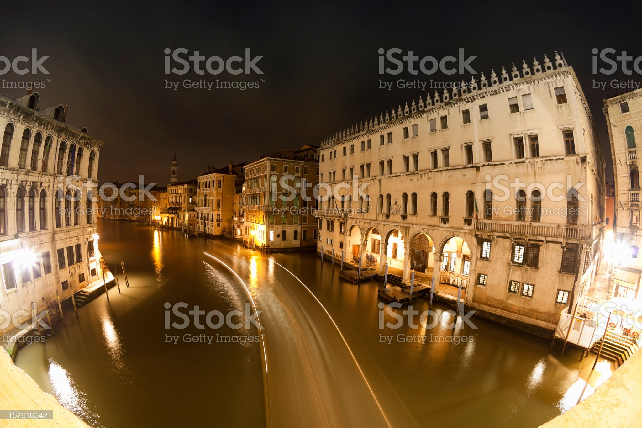 canale grande venice, italy at night royalty-free stock photo
