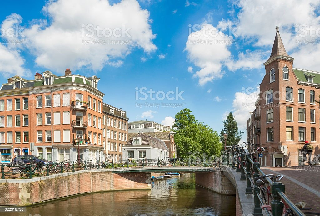 Canals and architecture in Amsterdam stock photo