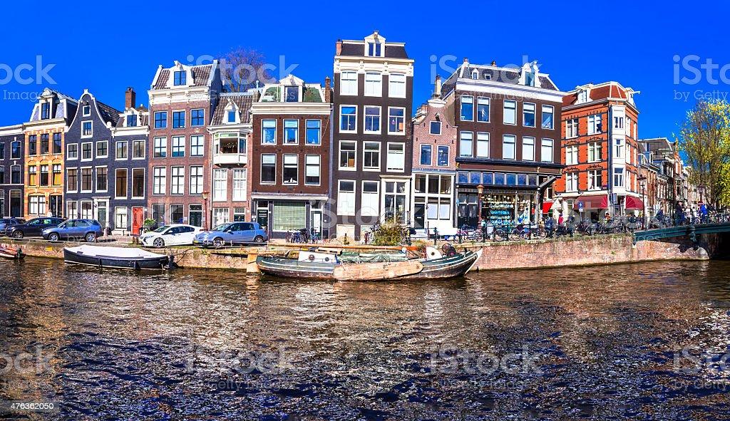 Canals Beautiful Amsterdam,Netherlands stock photo