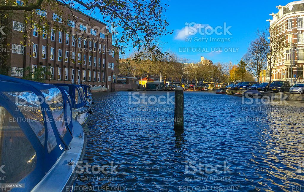 Canals of Amsterdam, The Netherlands stock photo