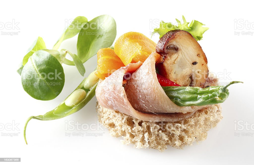 Canape with anchovy royalty-free stock photo
