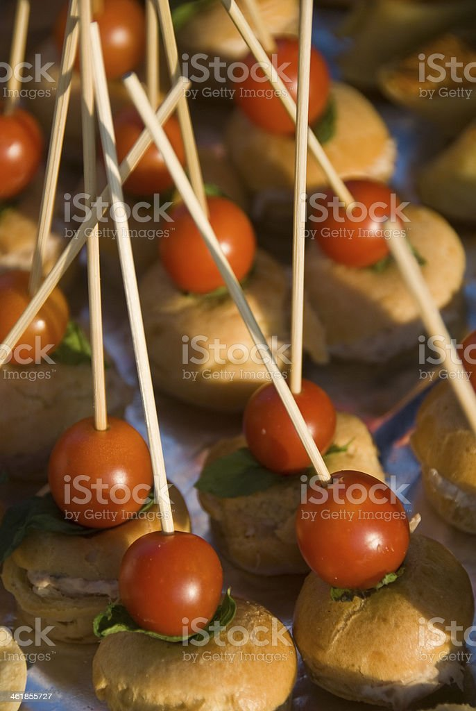 canape with cherry tomatoes royalty-free stock photo