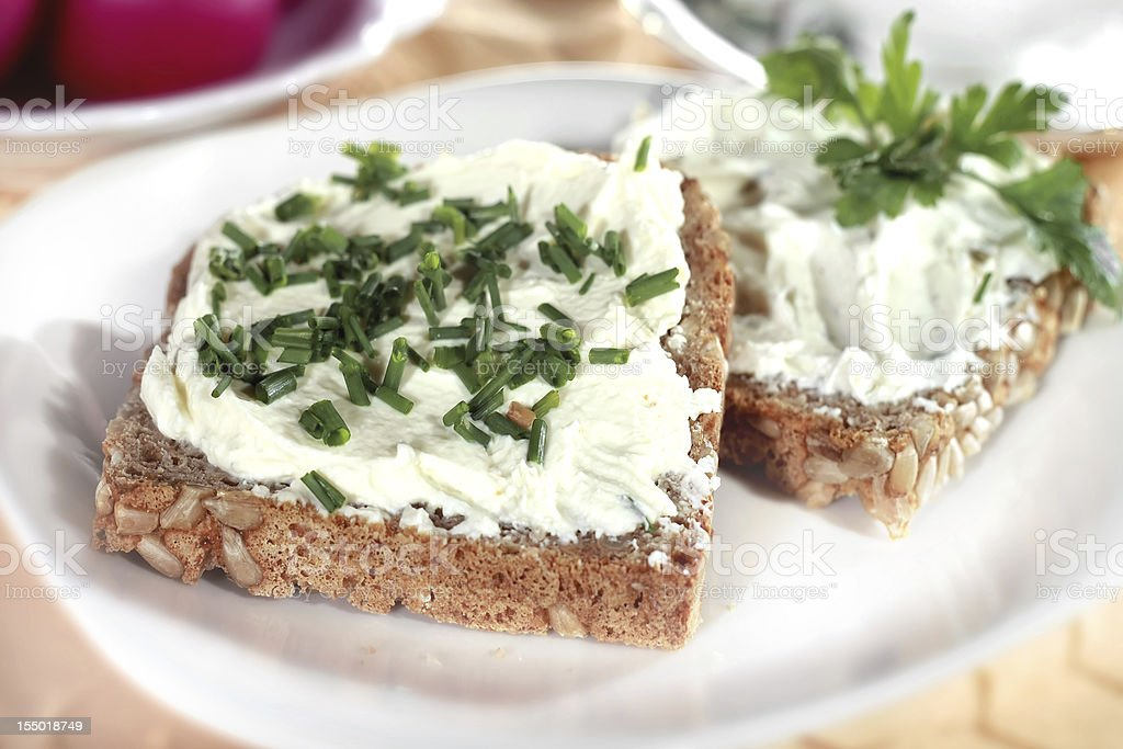 Canape with cream chesse stock photo