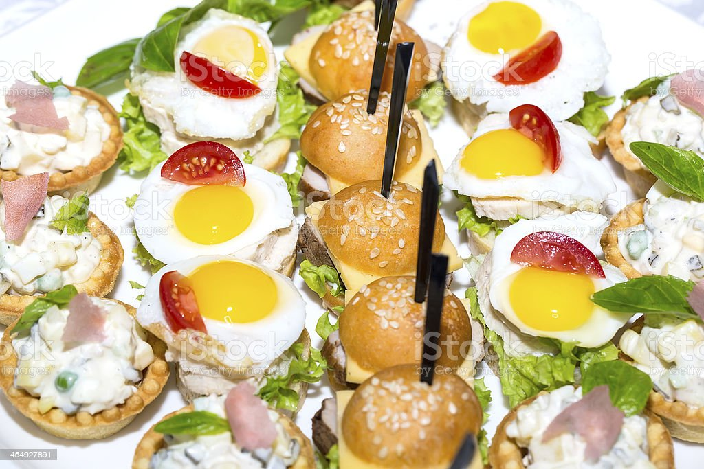 canape with meat, seafood royalty-free stock photo