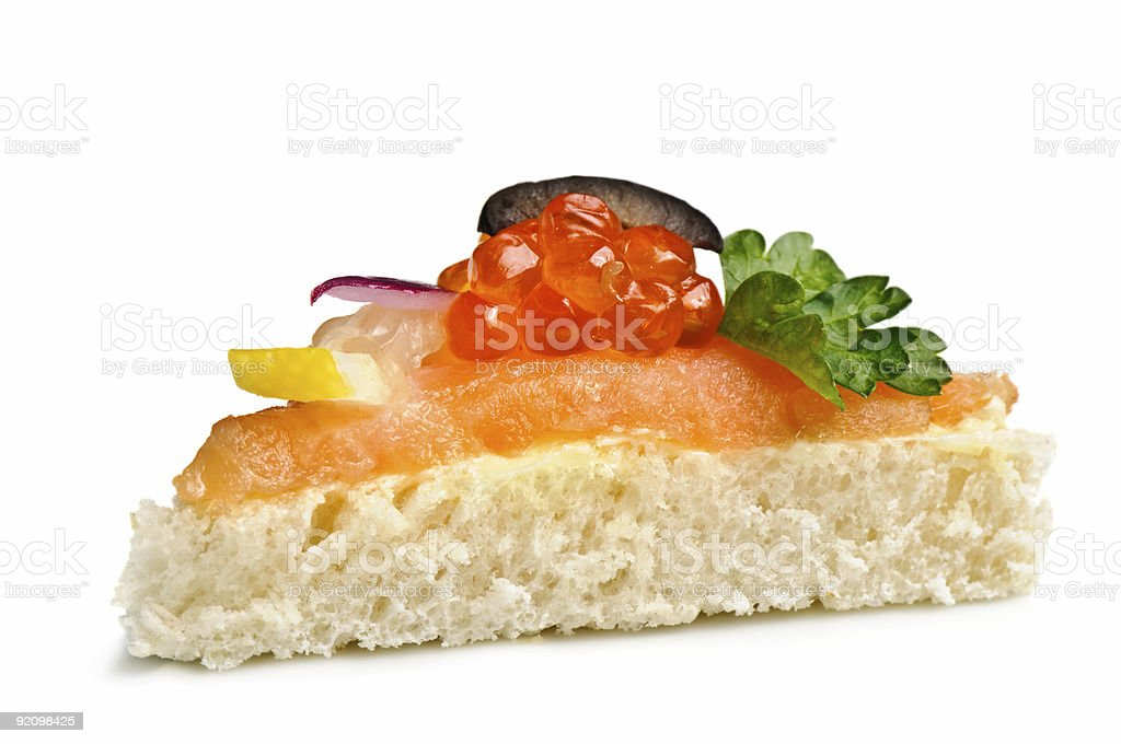 canape with red caviar royalty-free stock photo