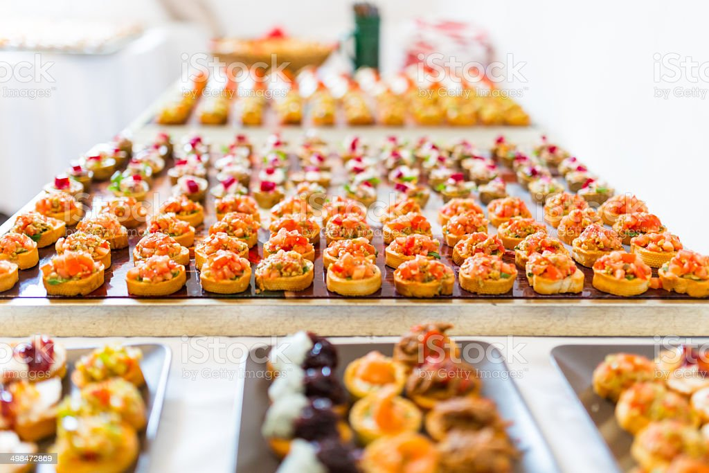 Canapes buffet stock photo